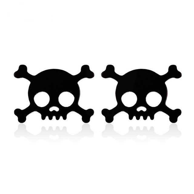 Серьги гвоздики черный череп с костями