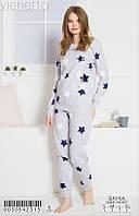 Женская пижама с брюками хлопок на байке Vienetta 30542315 Серый