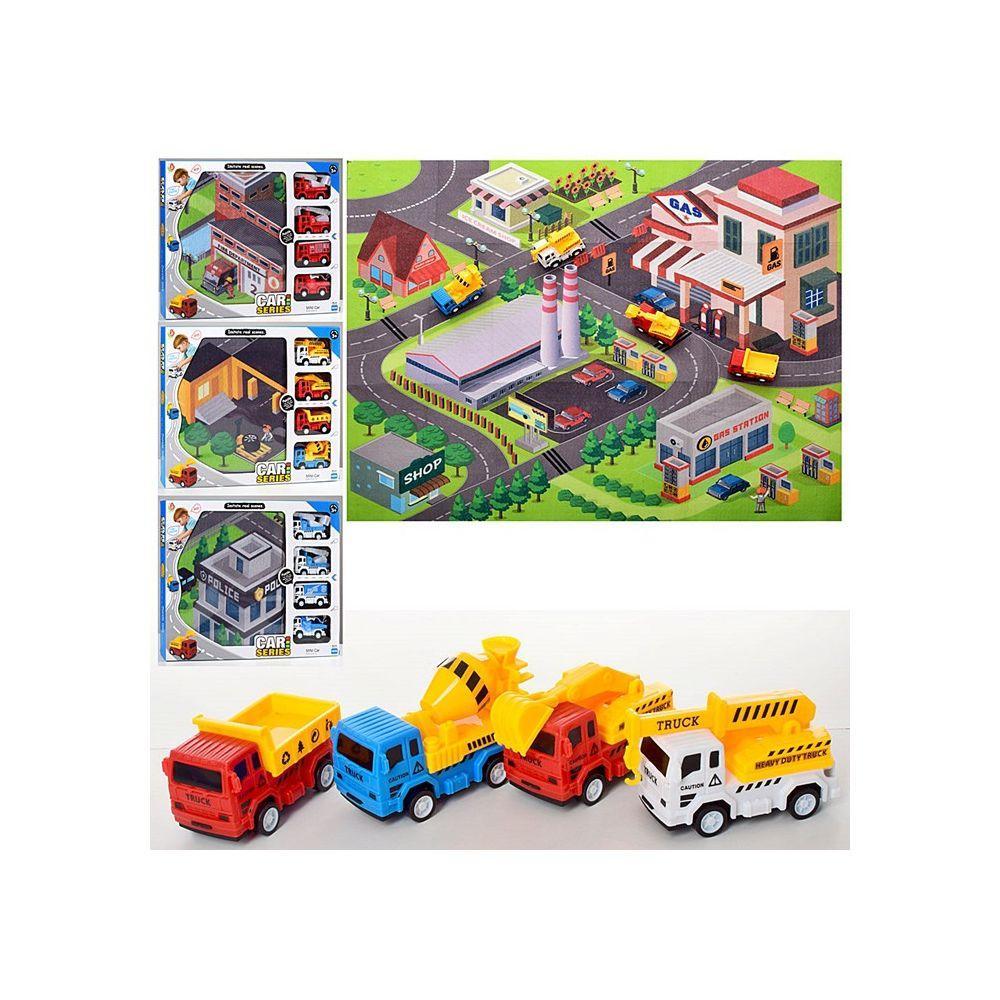 Игровой набор из коврика и 4 машинок (363-32-33-34-35), 4 вида