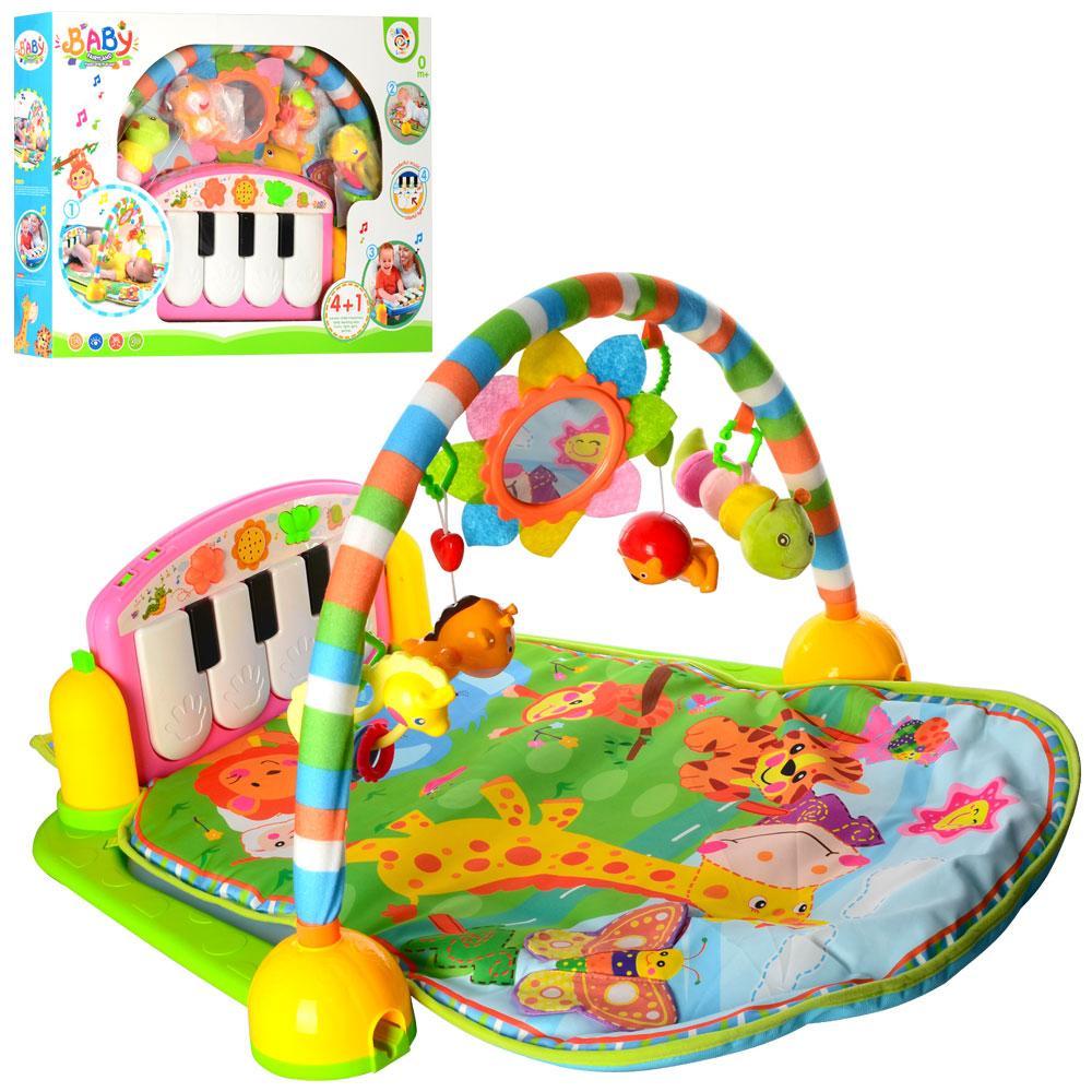 Детский развивающий коврик с пианино, Розовый (PA318)