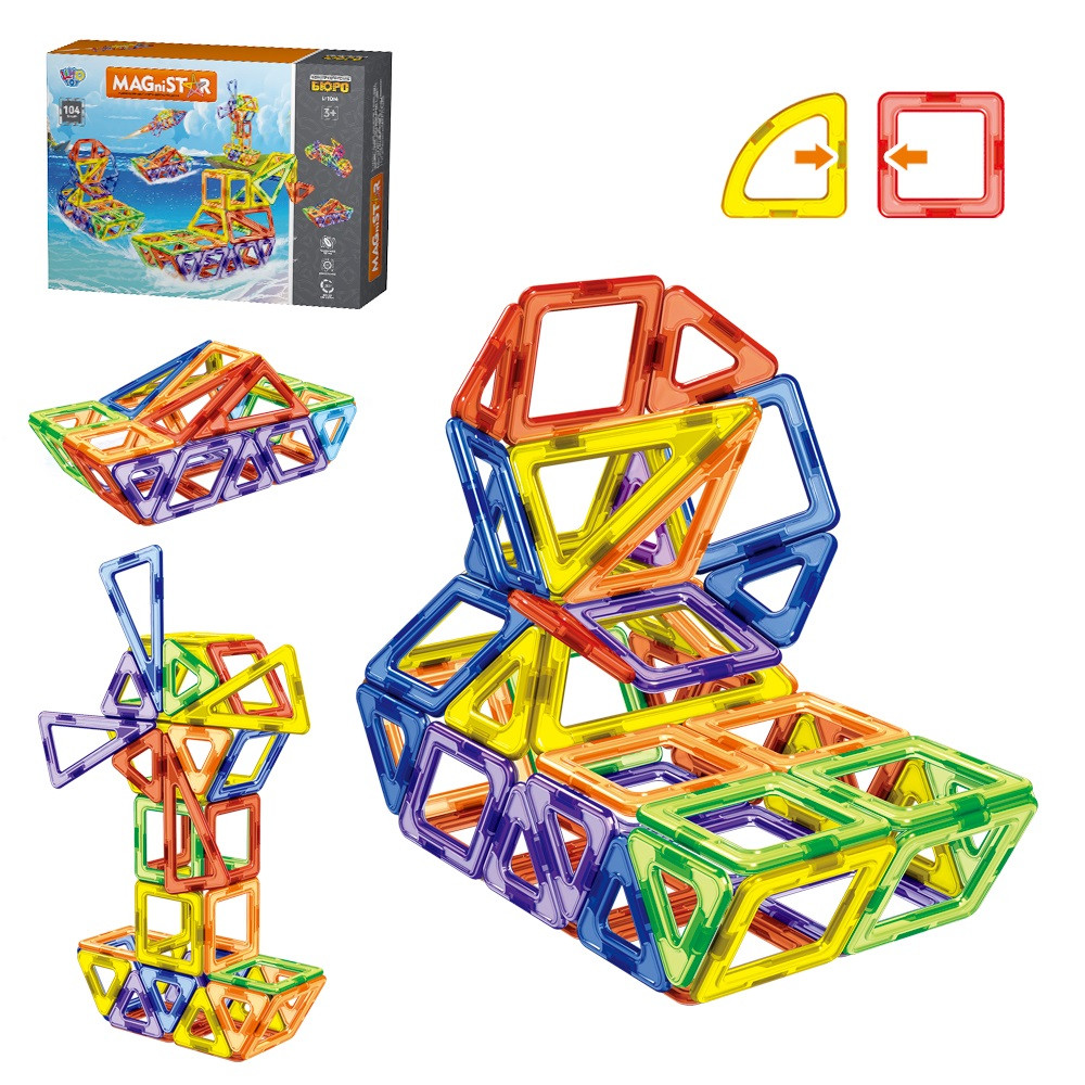 """Магнитный 3D конструктор """"Конструкторское бюро"""" на 104 дет, Limo Toy LT1004"""