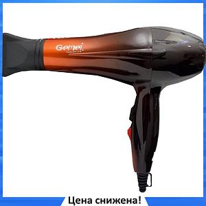 Фен для волос Gemei GM-1719 1800 Вт - Профессиональный фен для укладки и сушки волос (Оранжевый)