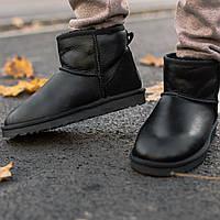 Женские и мужские мини УГГи на зиму черные. Теплые унисекс сапоги UGG Classic Mini II Boot. Стильные валянки