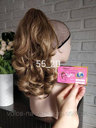 Хвост накладной на крабе шиньон кудрявый волос коричневый брюнет шиньен на заколке на зажиме, фото 2