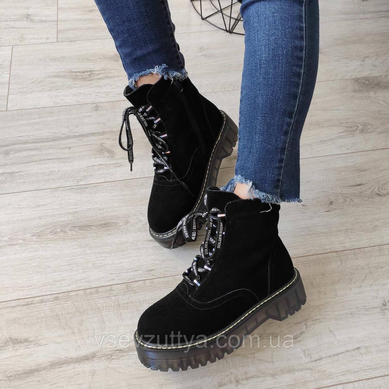 Ботинки женские черные зимние натуральная замша