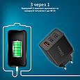 Сетевое зарядное устройство Promate TriPort-QC 30Вт USB QC3.0 + 2 USB Black, фото 2
