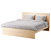 IKEA MALM (691.750.59) MALM КАРКАС кровати, высокий, белый шпон, лёнсет, 160x200 см