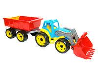 Игрушка трактор с ковшом и прицепом технок