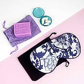 Подарунковий набір для сну Multibrand жіночий - Маска для сну шовкова + Беруші + Мило з лавандою ручної роботи
