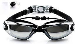 Очки для плавания Youyou со встроенным беруши Black + зажим для носа (1051-02)