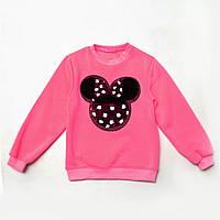Свитшот детский утепленный р.104,110,116,122,128 для девочки с пайетками SmileTime Minny, розовый неон