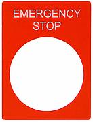 Табличка маркувальна EMERGENCY STOP червона прямокутна для кнопок XB2