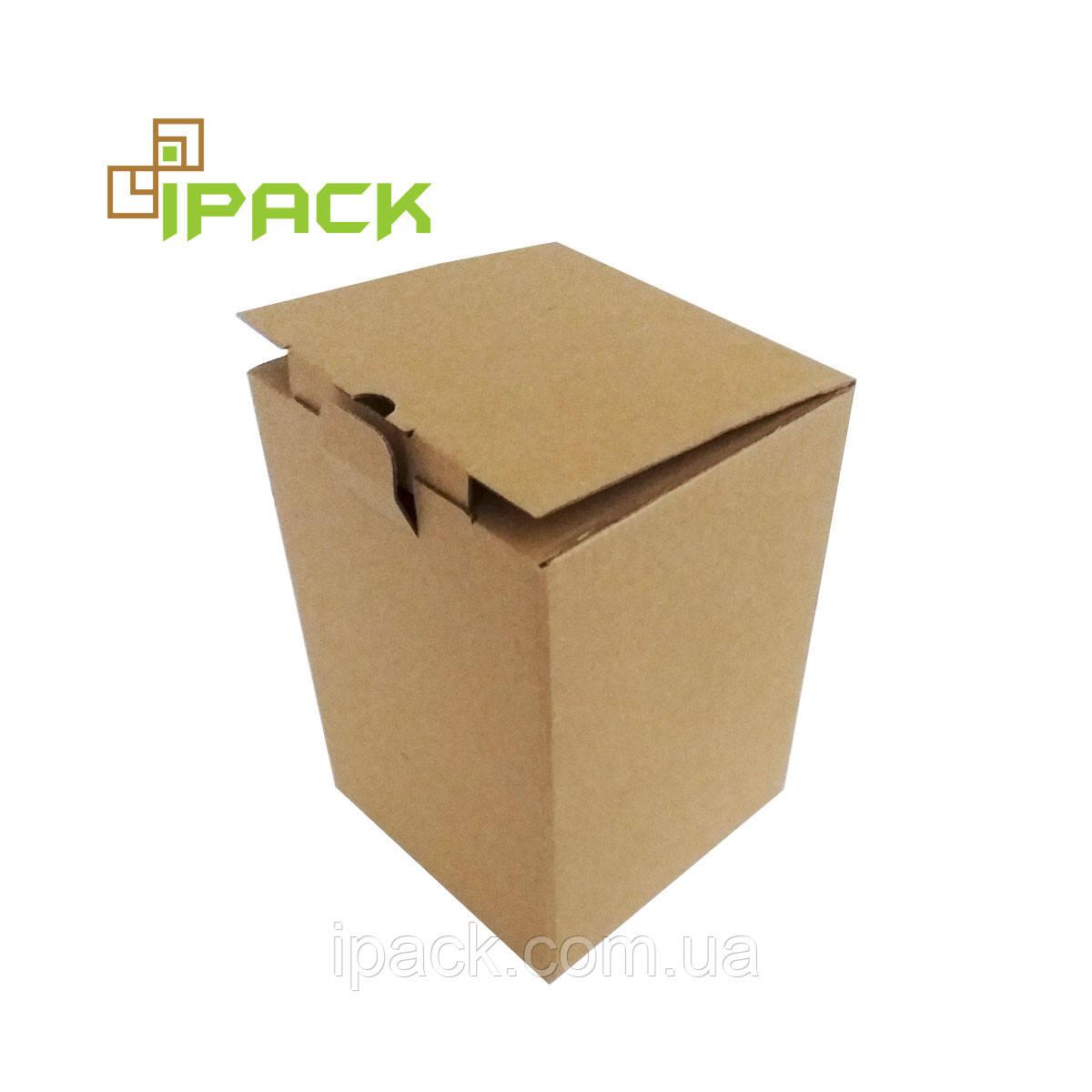 Коробка картонна самозбираюча, 120*120*155, мм, бура, крафт, мікрогофрокартон