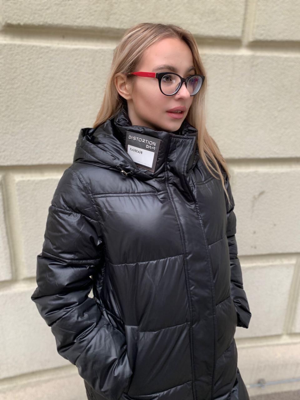 Длинное чёрное пальто SHIO S-9666-32