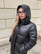 Длинное чёрное пальто SHIO S-9666-32, фото 2