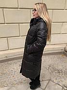 Длинное чёрное пальто SHIO S-9666-32, фото 4