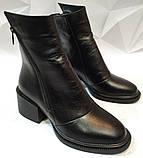 Valentino шик! Кожаные женские полусапожки ботинки зимние на змейке с небольшим каблуком, фото 2