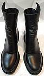 Valentino шик! Кожаные женские полусапожки ботинки зимние на змейке с небольшим каблуком, фото 3