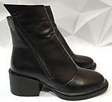 Valentino шик! Кожаные женские полусапожки ботинки зимние на змейке с небольшим каблуком, фото 5