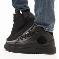 Ботинки мужские зимние кожаные на шнуровке, черные