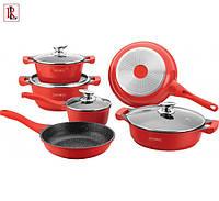 Набор 10 предметов кухонной посуды с керамическим покрытием Royalty Line RL-BS1010M RED