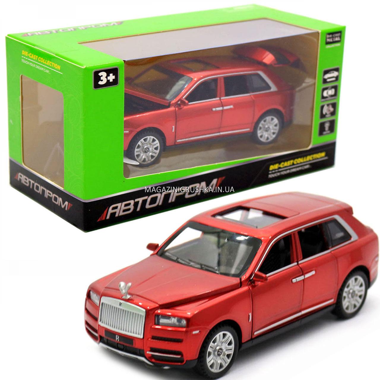 Дитяча машинка ігрова автопром «Rolls-Royce» (Роллс-Ройс) 15 см, світло, звук, двері відкриваються, червоний
