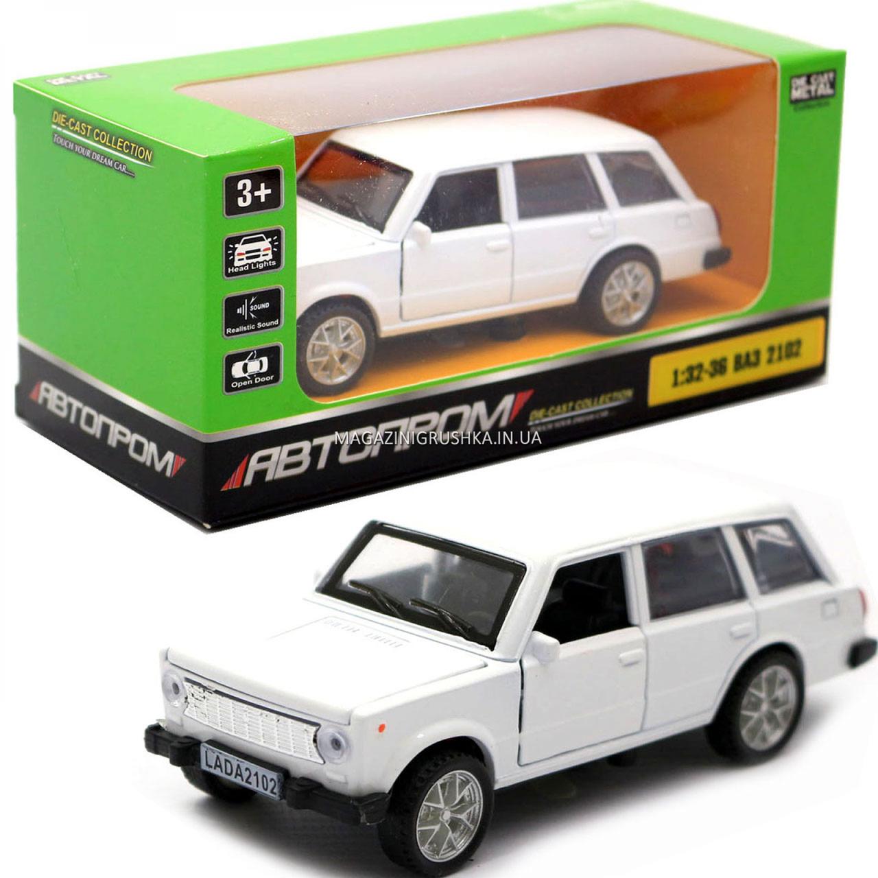 Детская машинка игровая автопром «ВАЗ 2102» 12 см, свет, звук, двери открываются, белый (7501)