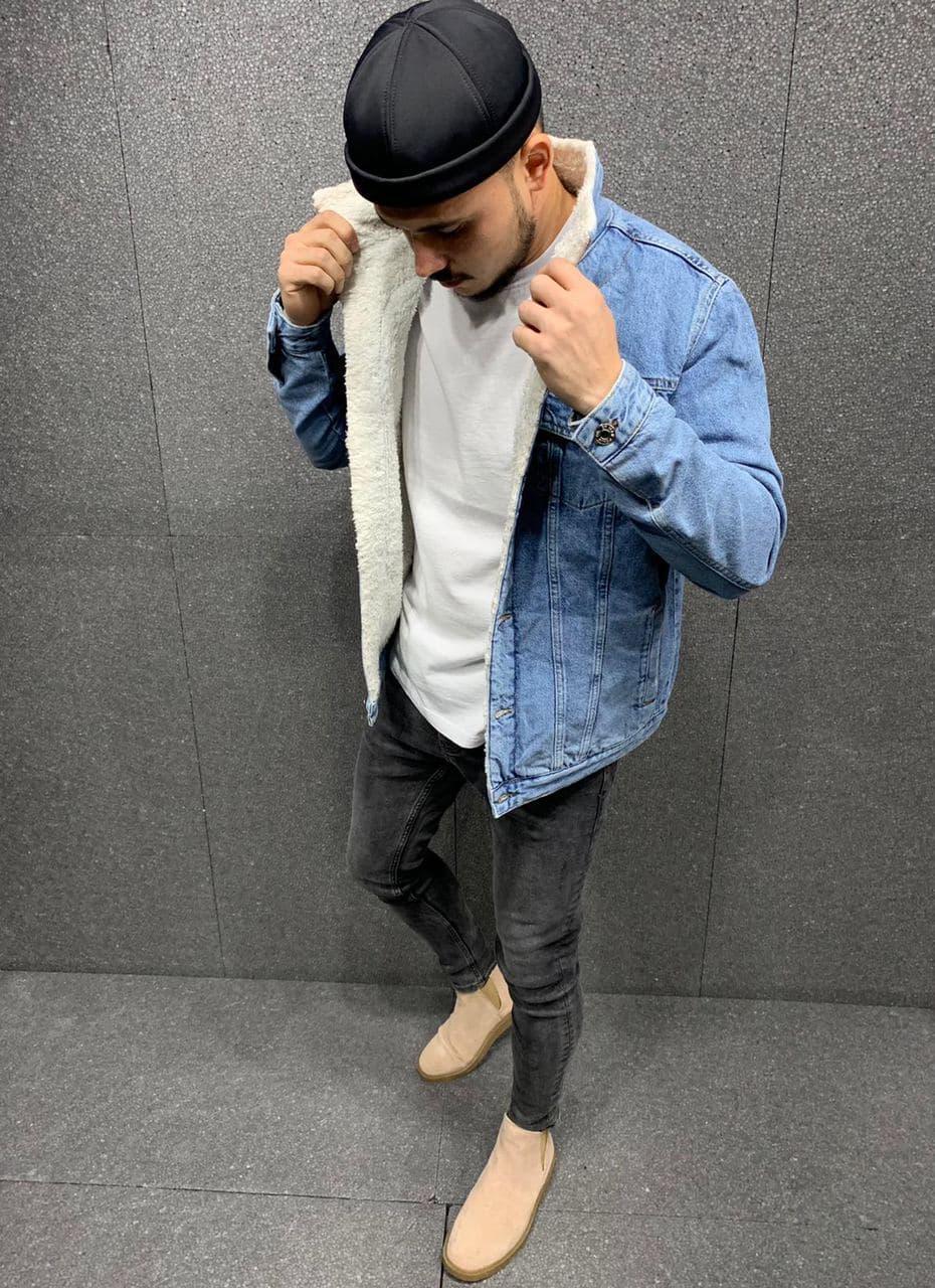 Куртка мужская джинсовая утепленная на меху синяя ретро (демисезон/еврозима)