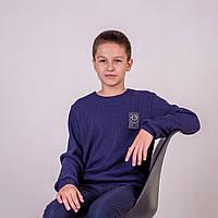 Свитер вязаный детский р.104,110,116,122 для мальчика SmileTime Compass, темно-синий