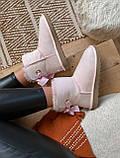 🔥 Угги угг женские зимние Ugg Mini Bailey Bow Ii Dusk розовые замшевые замша короткие низкие с бантиком бантом, фото 5