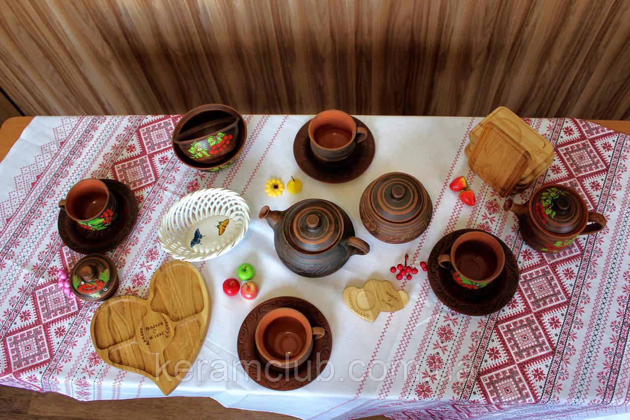 """Набор глиняной посуды на 4 персоны Калина №15 """"Чайный для беседки"""""""