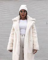 Женская белая шуба Teddy bear из эко-меха 90 см (XS-S, M-L, XL, XXL)