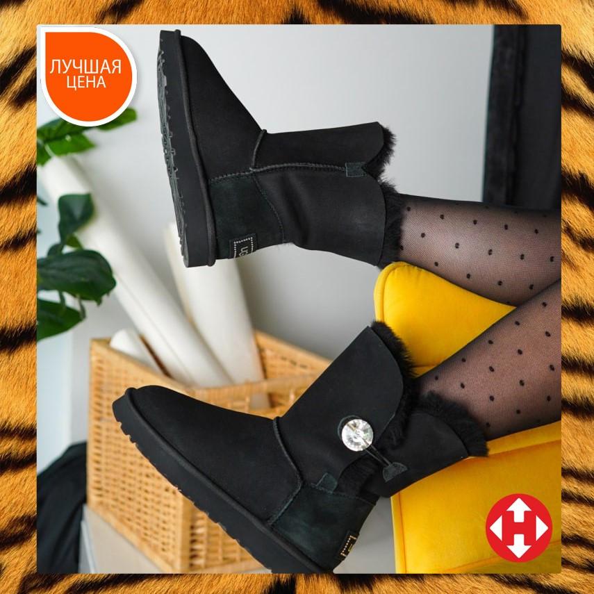 🔥 Угги угг женские зимние Ugg Classic Short Bailey Button черные замшевые замша высокие с кнопкой пуговкой