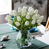 Искусственные тюльпаны белые - 5 штук, на вид и на ощупь как живые, длина 34см, длина бутона 5см