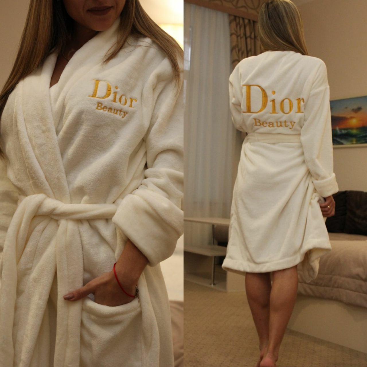 Махровый халат Диор Женский на запах, Женский махровый халат на запах Молочный, Халат махровый с капюшоном на
