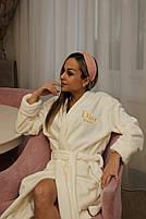 Махровый халат Диор Женский на запах, Женский махровый халат на запах Молочный, Халат махровый с капюшоном на, фото 2