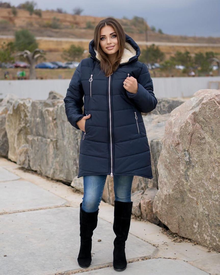 Женская куртка на овчине Большого размера