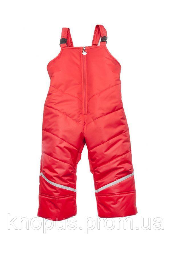 Зимний полукомбинезон для девочки с резулируемыми а бретелями  (красный), Модный карапуз, размеры 86-116