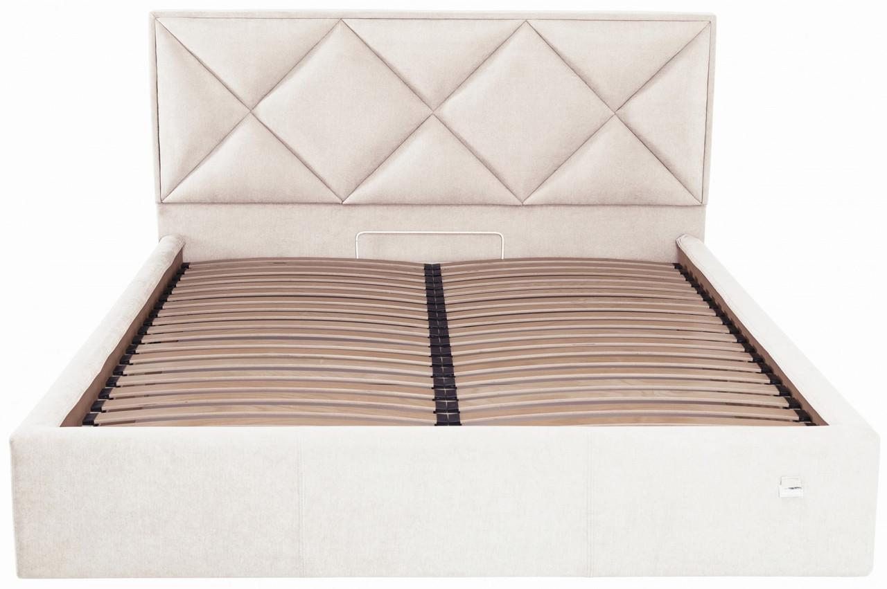 Кровать Двуспальная Leeds Comfort 180 х 200 см Мисти Milk С подъемным механизмом и нишей для белья Бежевая