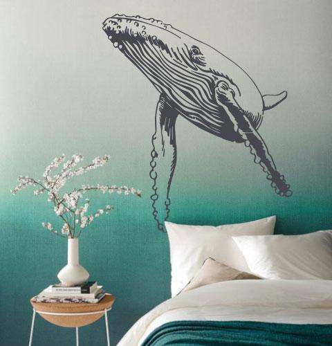 Вінілова наклейка Могутній кит (наклейки риби кити морські синій кит самоклеюча плівка) матова 860х1000 мм