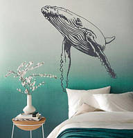 Вінілова наклейка Могутній кит (наклейки риби кити морські синій кит самоклеюча плівка) матова 860х1000 мм, фото 1