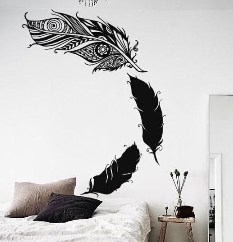 Вінілова наклейка на стіну Пір'я ловця снів (ловець снів мандала Менді самоклейка) матова Малий набір