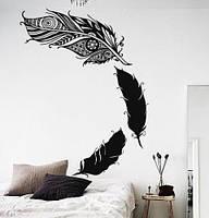 Вінілова наклейка на стіну Пір'я ловця снів (ловець снів мандала Менді самоклейка) матова Малий набір, фото 1