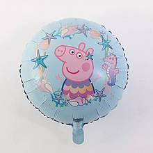 Фольгированный воздушный шар свинка пеппа и морские жители    45 см
