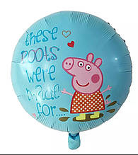 Фольгированный шар свинка пеппа в ботиночках круглый голубой  45 см