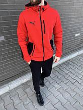 Мужской костюм Черно-Красный, Мужской теплый спортивный костюм, Зимний мужской спортивный костюм