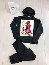 Женский теплый модный спортивный костюм черный, меланж, хаки, Костюм спортивный теплый с начесом.