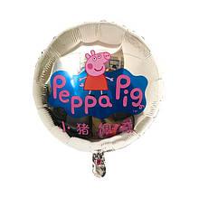 Фольгированный воздушный круглый шар свинка пеппа  серебро  45 см
