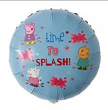 Фольгированный воздушный круглый шар свинка пеппа и друзья 45 см