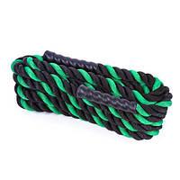 Канат спортивний тренувальний для кроссфита і тренувань 15 м IRONMASTER Бавовна Чорний-зелений (IR95104-1538)
